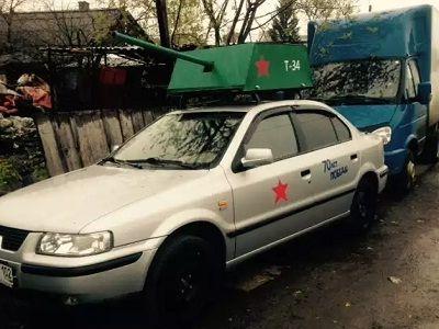 Автомобиль с картонной пушкой. Источник - http://www.e1.ru/news/spool/news_id-423482.html