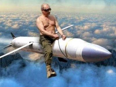 Путин на крылатой ракете. Коллаж: argumentua.com
