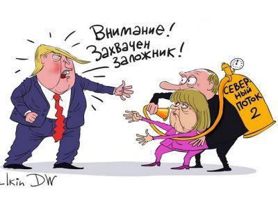 """Трамп, Меркель и """"Северный поток"""": """"Захвачен заложник!"""" Карикатура С.Елкина: dw.com"""