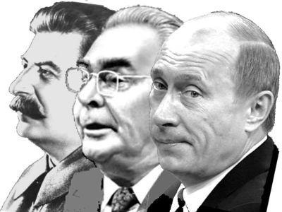 Сталин, Брежнев, Путин. Коллаж: Павел Матвеев
