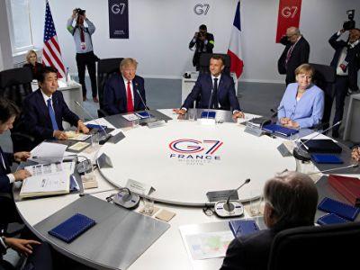 """Встреча лидеров G7 за круглым столом, саммит """"большой семерки"""" в Биаррице, 26.8.19. Фото: Reuters"""